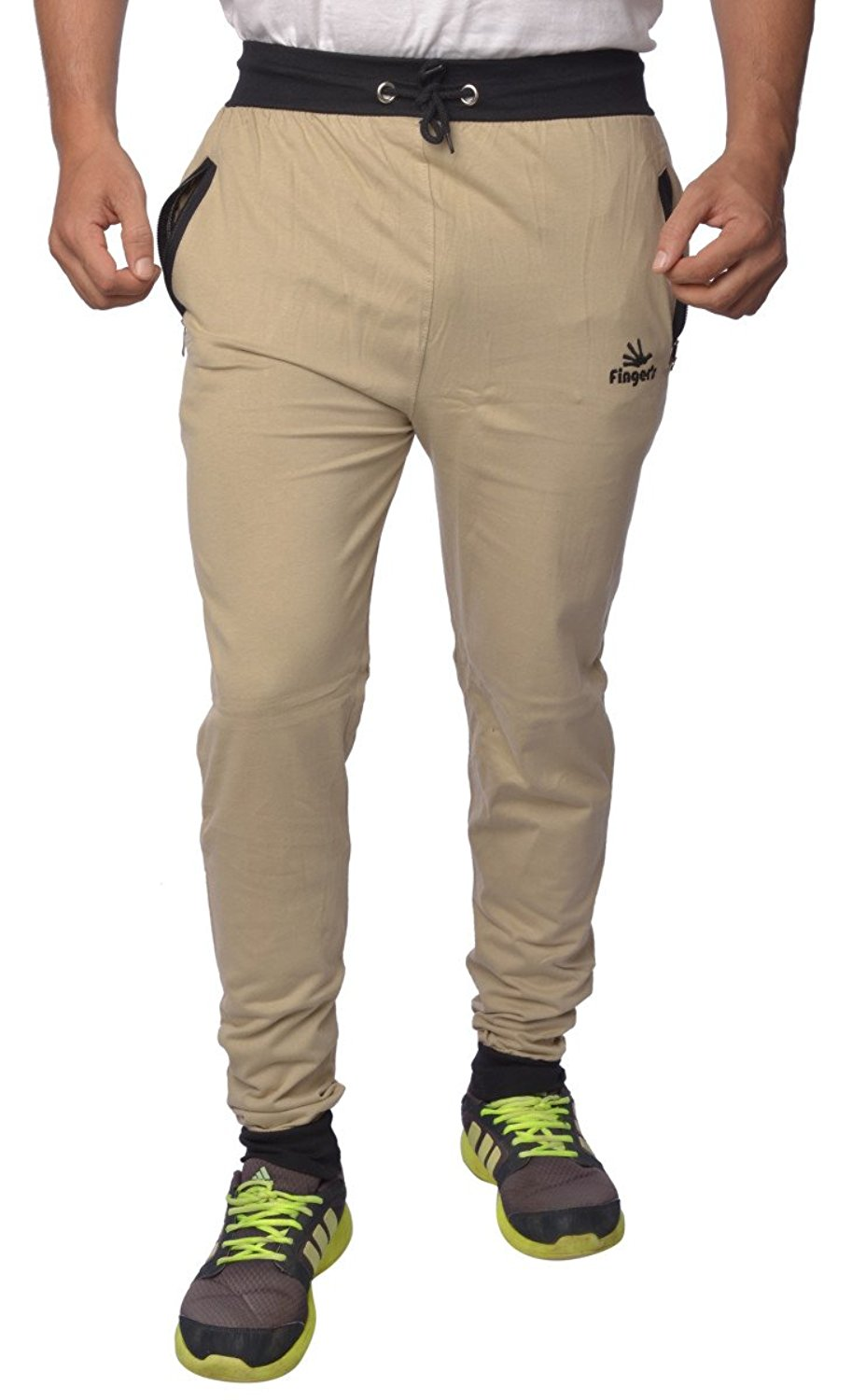d779ef6bf70 Men s Cotton Track Pants with Zipper Pockets - Hello Dhani